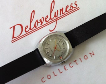 Vintage Womens Diantus Swiss Watch, Brushed Chromium Case, Mid Century Modern, Red Sweep Second, Date Window, from Delovelyness