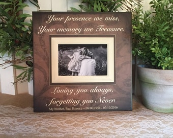 bereavement gift lost loved one photo memorial your presence we miss in loving memory personalized funeral in memory frame
