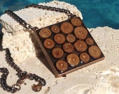 Natural wood slices in copper statement necklace