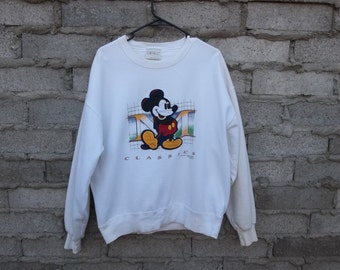 Vintage Embroidered Sweatshirt Mickey Mouse Jumper Disney Classics 1990s 80s sz fits medium Oversized Cartoon Character