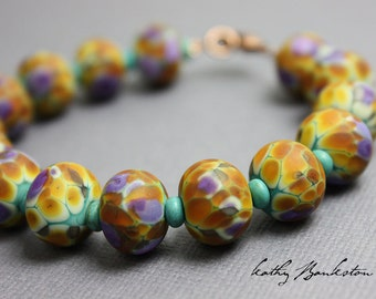 Purple and Gold Beaded Bracelet, Lampwork Bracelet, Boho Bracelet, Beaded Bracelet, Summer Jewelry, Kathy Bankston, Handmade Bracelet