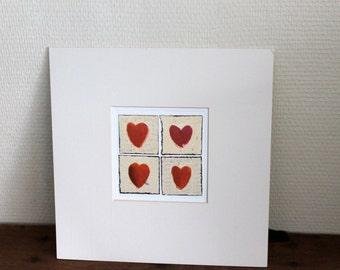 Valentine gift- I love you- vintage heart print - love gift- girlfriend present