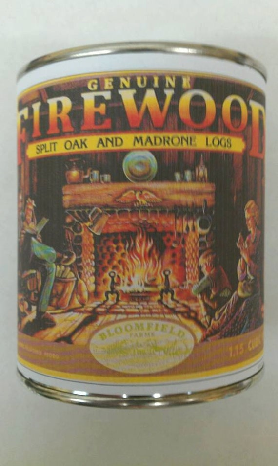 FIREWOOD - Vintage Label Genuine Wood Burning Wood Wick Fireplace Candle 16 oz. Free Shipping in USA