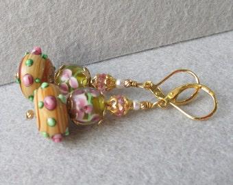 """Hand-Made """"Garden Room"""" Art Glass Artisan Earrings, """"Wood Rose"""" #85"""