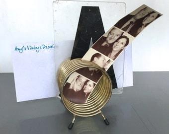 vintage brass letter holder spiral gold toned desk accessory