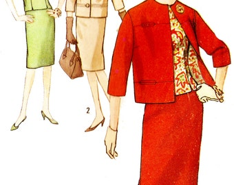 Simplicity 5144 Vintage 1960s Top and Skirt Suit and Overblouse Sewing Pattern Sz 14
