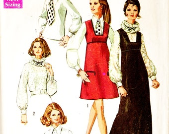 Simplicity 8499 Vintage 1960s Jumper and Blouse in Two Lengths Sewing Pattern Sz 16