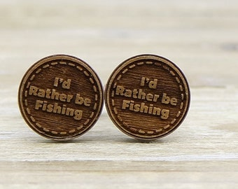 I'd Rather be Fishing Copper Wood Cufflinks - Gift for Dad - Father of the bride - Groom Cuff Links - Groomsment Gift - Unique Cufflinks