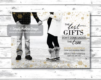 holiday card, christmas card, pregnancy announcement, new baby, christmas pregnancy announcement, the best gifts, PRINTABLE or PRINTED CARDS