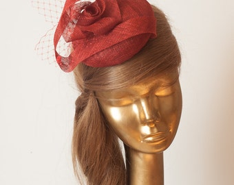 RED FASCINATOR. Sinamay Bridal Fascinator with Veil . Derby Mini Hat