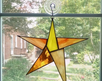 Stained Glass Star Suncatcher - Star Ornament - Yellow Orange Star - Appreciation Gift - Housewarming Gift - Employee Recognition