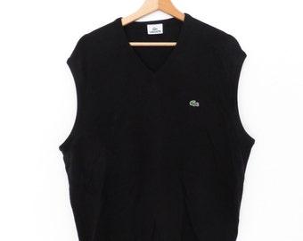 LACOSTE Vintage  Pure Virgin Wool Black Vest, sz. XL