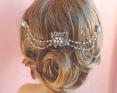 Crystal bridal headpiece, wedding hair accessories crystal, pearl and rhinestone wedding hair piece,  pearls and crystals on wire Style 275