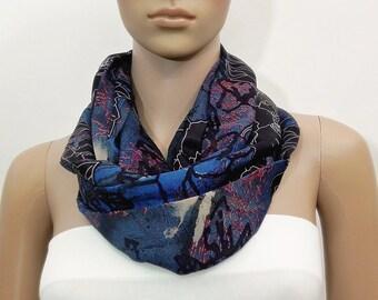 Blue Scarf Black Infinity Scarf Black Scarf Fashion Scarves Scarf Shawl Cowl Scarf Tube Scarf Summer Scarf Gift for her Handmade Texture