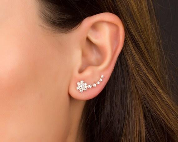 Flower Ear Cuff Sterling Silver Ear Climber Earrings Flower