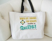 Quilting themed tote bag - quilting gift - polyester crafting tote bag - full colour design tote bag - original design quilting bag