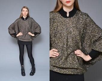 Dolman Sweater 90s 80s Holiday Sweater Oversized Jumper Gold Black Disco Metallic Glitter Glam Avant Garde Futuristic Mod Party Top One Size