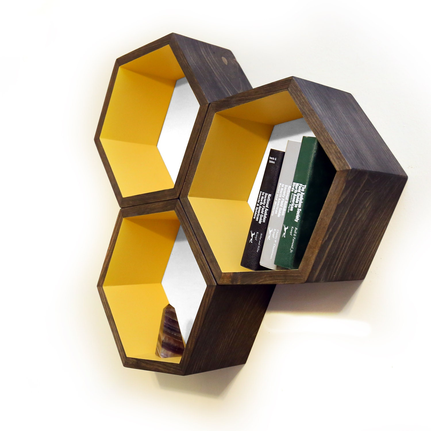^ Honeycomb Shelves Wooden Book Shelf Mid entury Modern tsy