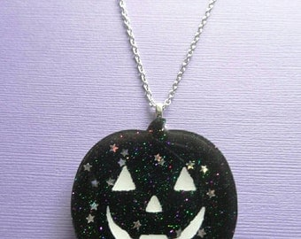 Black Pumpkin Necklace-Creepy -Cute Gothic Lolita - Sweet Lolita -Fairy Kei