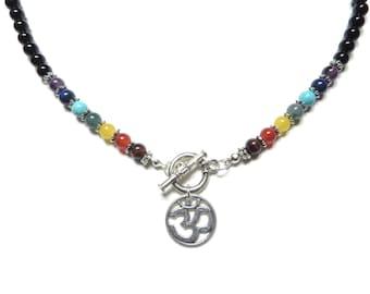 Namaste Jewelry Chakra Nekclace Yoga Jewelry Om Chakra Jewelry Gemstone Bohemian Necklace Buddhist Meditation Jewelry Birthday Unique Gift
