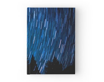 Starry Night Journal - Space Gift - Star Trails Stationary - Blue Journal for Writing - Night Journal - Hard Cover Journal - Space Lover