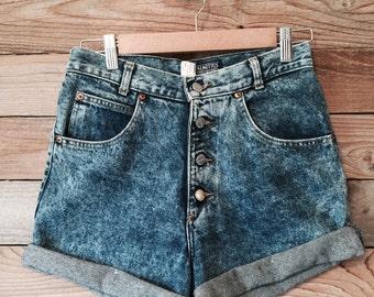Retro Denim High-Waisted Shorts