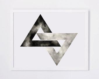 Triangle Print Geometric Watercolor Artwork Black White Print Double Interlocking Triangles Art Monochrome Art Minimal Minimalist Wall Decor