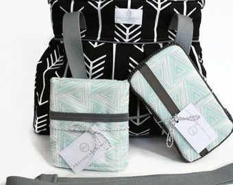Diaper Bag Gift Set - Black Arrow Diaper Bag - Travel Pad - Wipes Case - Messenger Strap