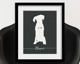 I love my dog, Boxer, personalized dog name, heart home decoration poster, digital artwork print, modern home decor dog lover