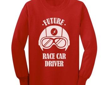 Future Race Car Driver Kids-Youth Long Sleeve T-Shirt