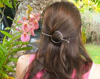 Silver Hair Slide//Circle Hair Slide//Handmade Hair Jewelry//Women Jewelry//FALL Accesories