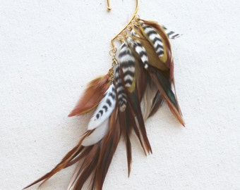 Natural Brown & Gold Feather Ear Wrap