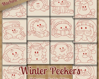 Winter Peekers Redwork Machine Embroidery Patterns 14 Designs 5 Sizes INSTANT DOWNLOAD - art art70 pes jef exp sew xxx vip hus dst