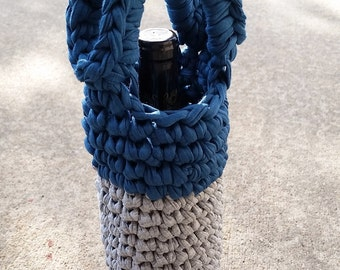 Reusable Wine Bottle Carrier - Grey and Deep Sea Blue