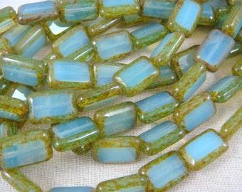 Czech Picasso Beads - Aqua Opal Rectangle with Picasso Edges (REC/SM-T6100)  - 12x8mm - Qty 12