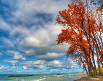 Presque Isle autumn scene, HDR photograph, Blue, red, yellow, tan, fine photography prints, Presque Autumn