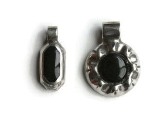 Sterling Silver Onyx Pendants, Group of 2