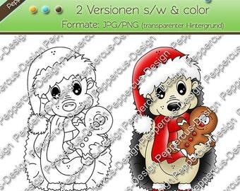 Digi stamp set - Hedgehog with gingerbread / E0084