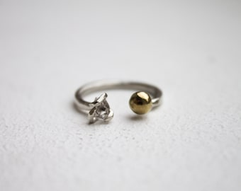Herkimer diamond ring sterling silver ring unique ring mixed metal ring statement ring silver ring knuckle ring jewelry gift for her