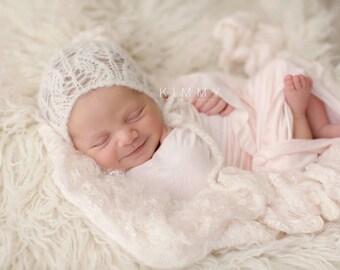 Lace knit newborn bonnet Alpaca silk newborn photo prop
