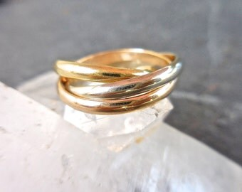 """Tri-color Wedding Rings - Modern Wedding Band, 18K White, Yellow, and Rose Gold, Russian Wedding Band, """"Cartier"""" Rolling Ring, Trinity Ring"""