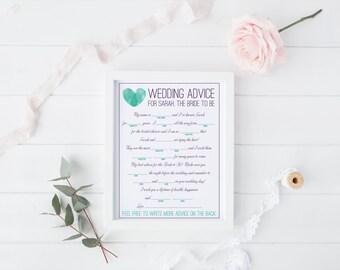 DIY Printable Bridal Shower Mad Libs Keepsake Game - Modern Thumbprint Heart Monogram Design