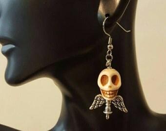 Skull with angel wings earrings