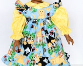 18 Inch Doll Clothes, Pinafore Dress, yellow and blue, Cats, Ladybugs, Picket Fences