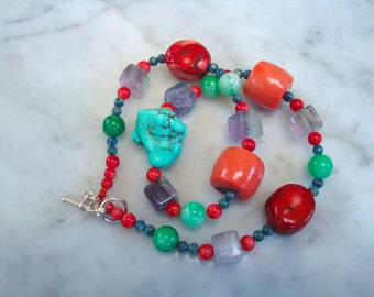 Turquoise, Coral, Jade, Fluorite & Chrysocolla All Natural Gemstone Necklace