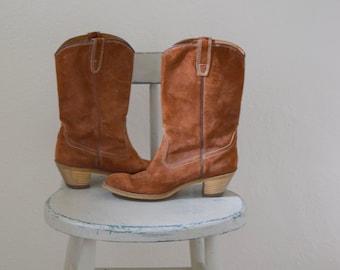 Cinnamon / Rust Suede 'Wolverine' Cowgirl / Cowboy / Western Boots - Women's 9 1/2