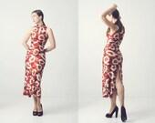 années 1970 robe réversible en rouille, Bordeaux et blanc imprimé floral psychédélique, qualité vintage formelles Vêtement femme avec