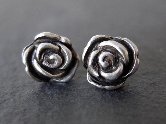 Silver Rose Stud Earrings, Small Flower Earrings, Oxidised Silver Rose Earrings, Dainty Rose Earrings, Dainty Silver Flower Earrings