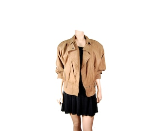 Medium Brown Leather Bomber Jacket // Women's Brown Leather Jacket // E58