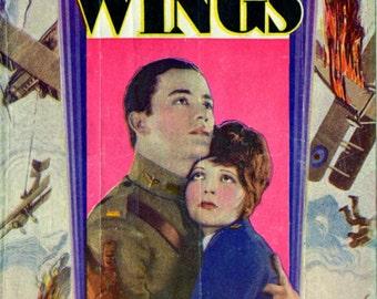 CLARA BOW 'Wings' Vintage Silent Movie Herald 1927 - Buddy Rogers + Gary Cooper - Hollywood 1st Academy Award Winner - Vintage Aviator Orig